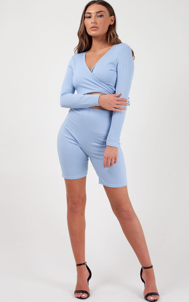 Lily Ribbed Crop Top & Cycling Shorts Co-ord In Blue by Vivichi