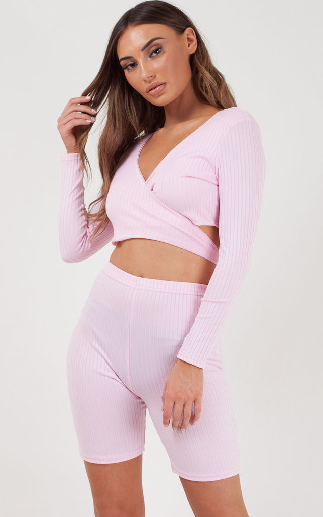 Lily Ribbed Crop Top & Cycling Shorts Co-ord In Pink by Vivichi