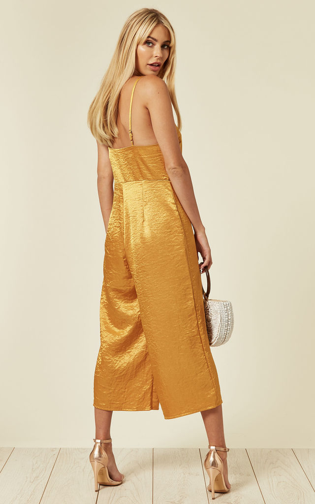 Celia Satin Strappy Culotte Jumpsuit in Marigold Yellow by SlayTwins