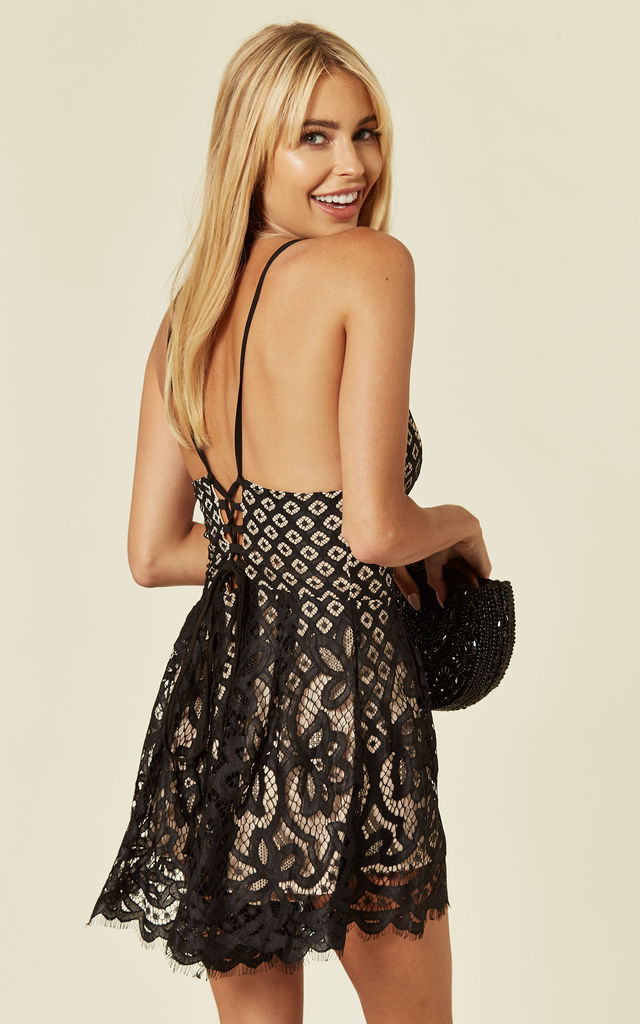 Layla Scallop Lace Cami Lattice Playsuit by SlayTwins