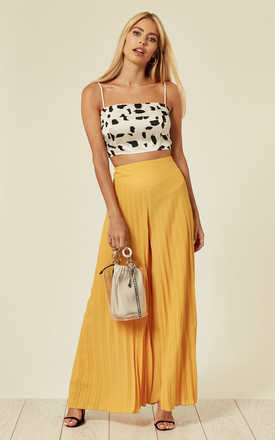 Lulu Pleated Palazzo Trousers In Yellow Sunray by SlayTwins Product photo
