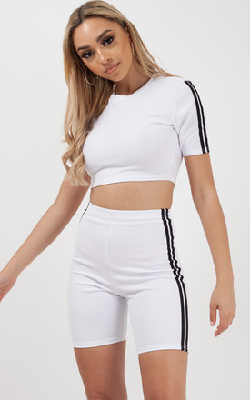 Side Stripe Crop Top & Shorts Co-ord In White by Vivichi
