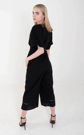 Black Broderie Anglaise Jumpsuit by Ettie