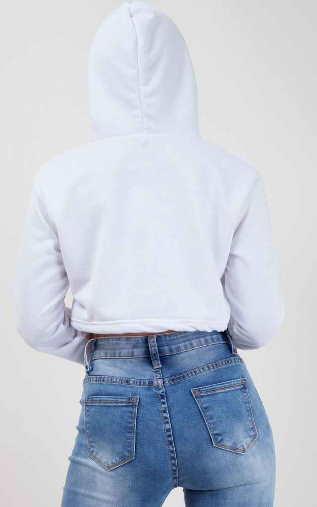 Thalia Zip Up Cropped Hoodie In White by Vivichi