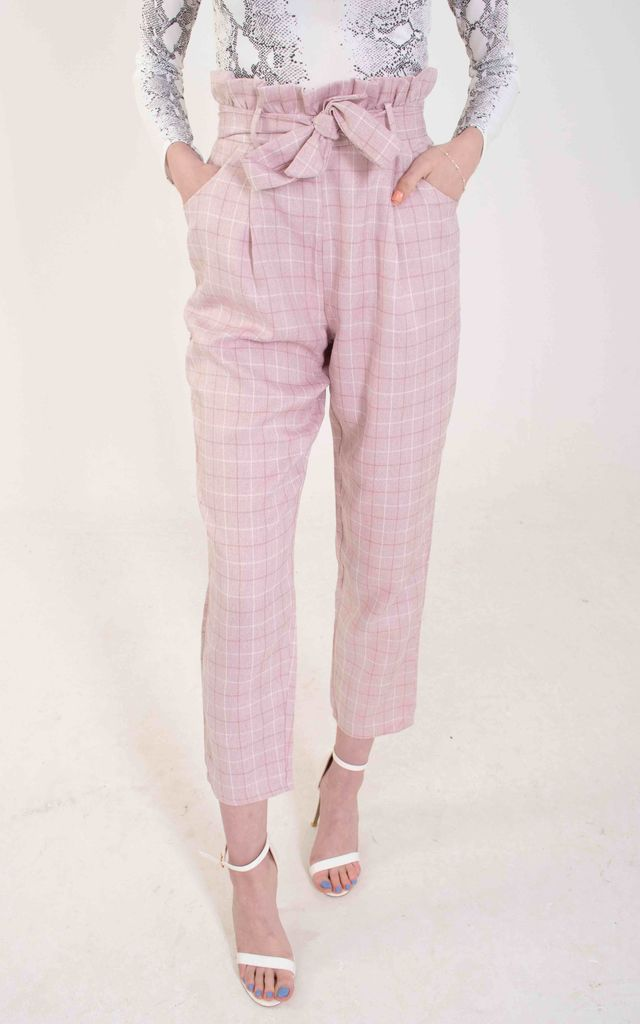 Pink Paperbag Waist Trousers by Ettie