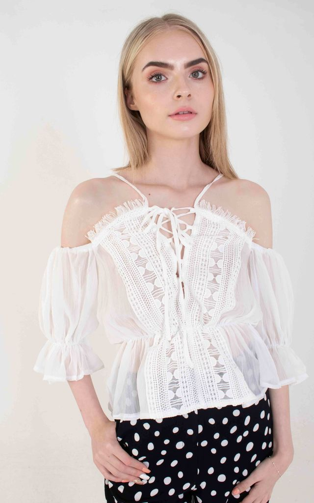 White Sheer Lace Edge Bardot Top by Ettie