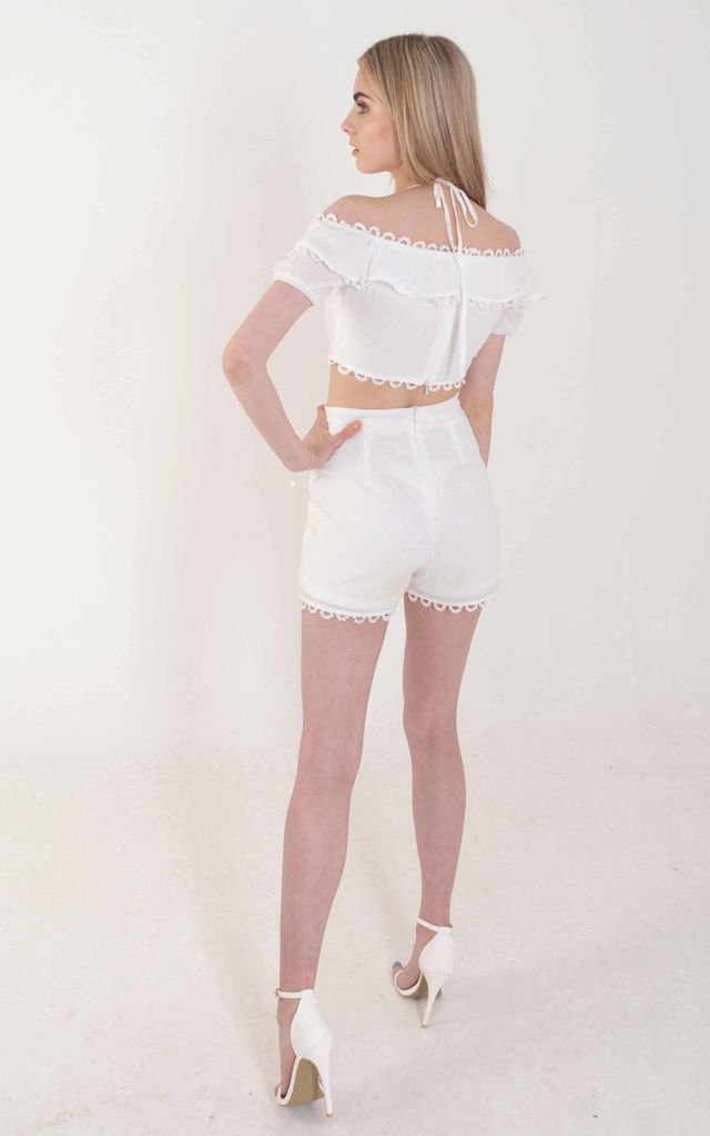 White Polkadot Frill Tailored Shorts by Ettie