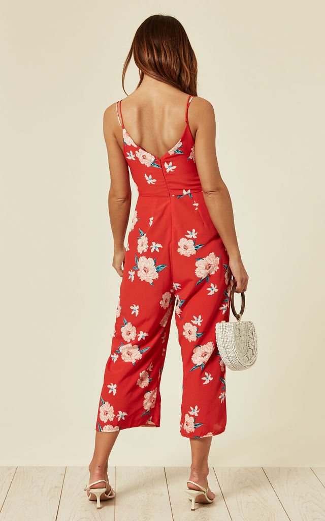 Red Floral Cami Culotte Jumpsuit by ANGELEYE