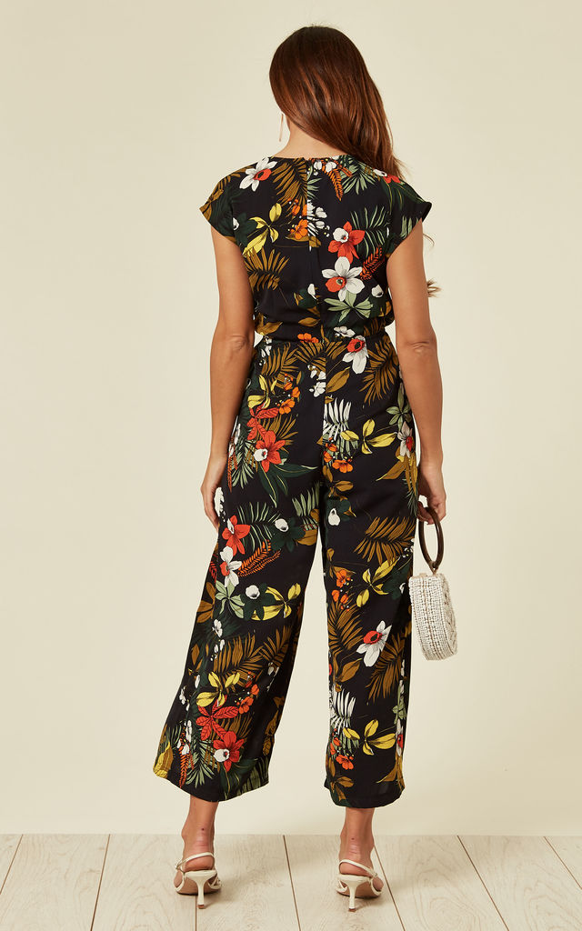 Black Floral Wrap V Front Culotte Jumpsuit by ANGELEYE