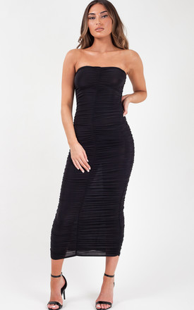 Libby Slinky Ruched Bandeau Maxi Dress In Black by Vivichi Product photo