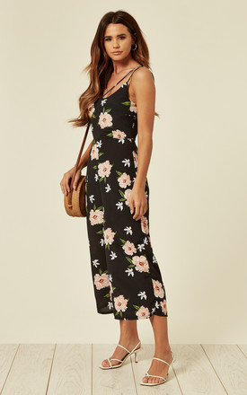 Black Floral Cami Culotte Jumpsuit by ANGELEYE