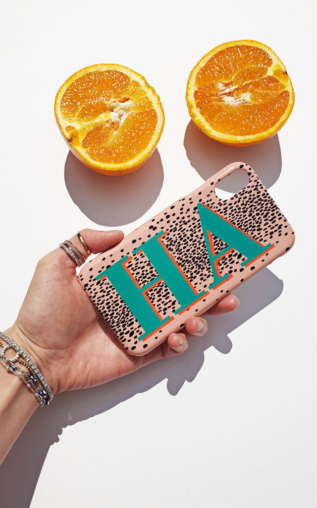 Nude leopard print and emerald green personalised phone case by Rianna Phillips