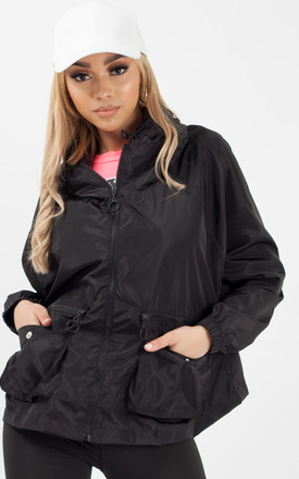 Scarlet Hooded Rain Parka Festival Jacket In Black by Vivichi Product photo