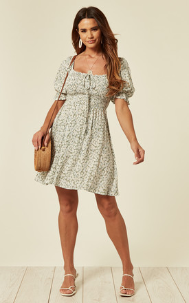 Puff Sleeve Ditsy Floral Mini Dress by Oeuvre