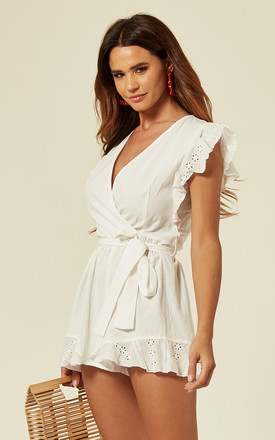 White Playsuit With Belt Tie by Oeuvre