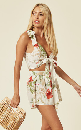 White Floral Print Co-ord with Shoulder and front tie detail by Oeuvre