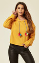 Yellow Multi Pom Hooded Jumper by B. W. G.