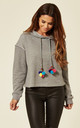 Grey Multi Pom Hooded Jumper by B. W. G.