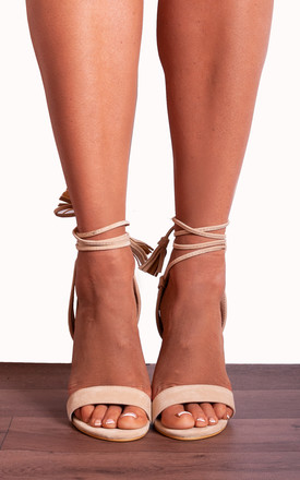 Nude Faux Suede Barely There Wrap Round Lace Ups Strappy Sandals High Heels by Shoe Closet