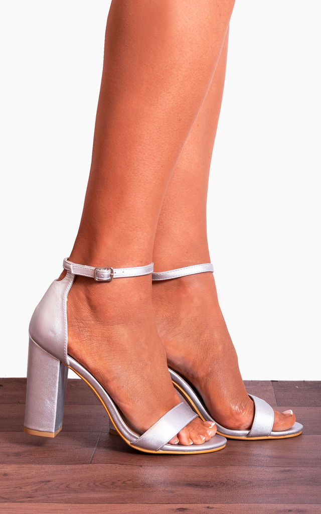 Silver Metallic Barely There Ankle Strap Strappy Sandals High Heels by Shoe Closet