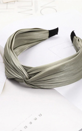 Spencer Green Satin Twist Headband by Ajouter Store