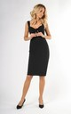 Sleeveless Midi Dress with Bow on Bust in Black by Bergamo