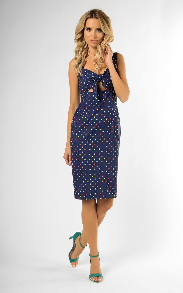 Sleeveless Midi Dress with Bow on Bust in Navy with Dots by Bergamo