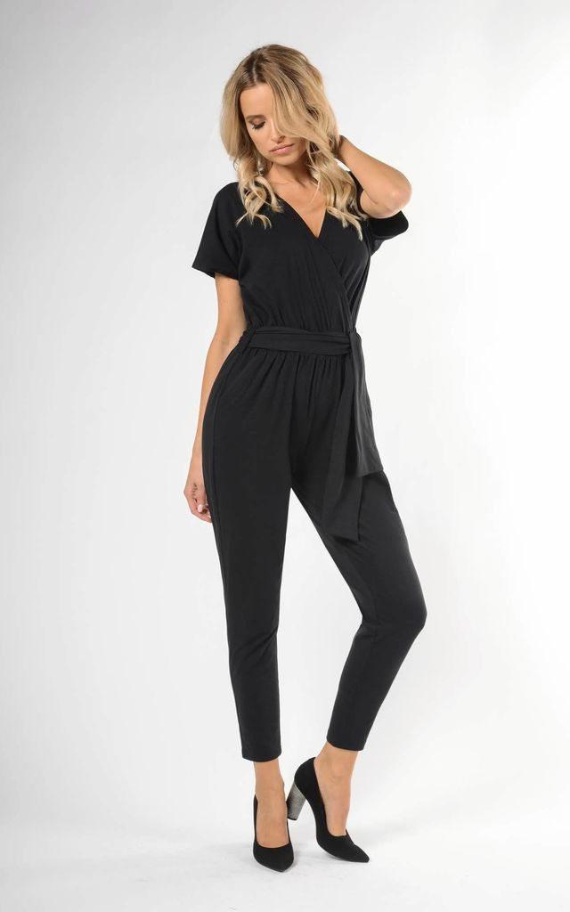 Wrap Jumpsuit with Short Sleeve in Black by Bergamo