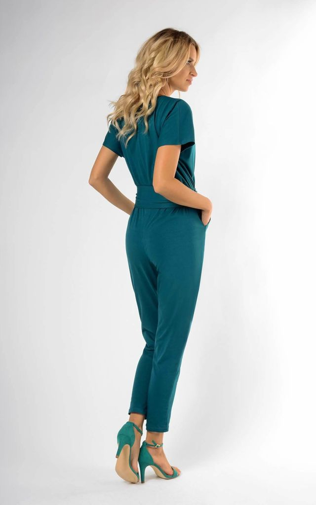 Wrap Jumpsuit with Short Sleeve in Green by Bergamo