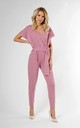 Wrap Jumpsuit with Short Sleeve in Light Pink by Bergamo