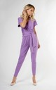 Wrap Jumpsuit with Short Sleeve in Violet by Bergamo