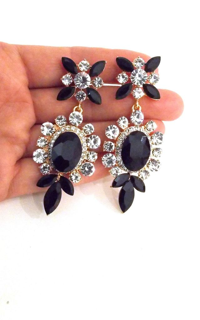 Black and Crystal Jewelled Statement Prom Earrings by Olivia Divine Jewellery