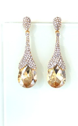 Champagne And Crystal Jewelled Statement Prom Earrings by Olivia Divine Jewellery Product photo