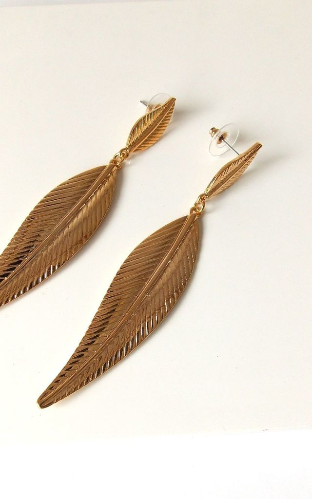 Long Gold Leaf Earrings by Olivia Divine Jewellery