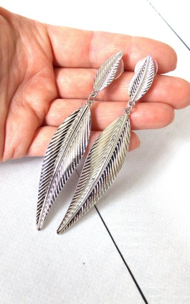 Long Silver Leaf Earrings by Olivia Divine Jewellery Product photo