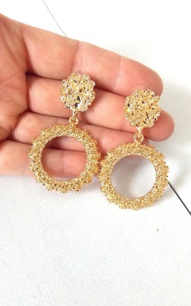Gold Textured Hoop Drop Earrings by Olivia Divine Jewellery Product photo