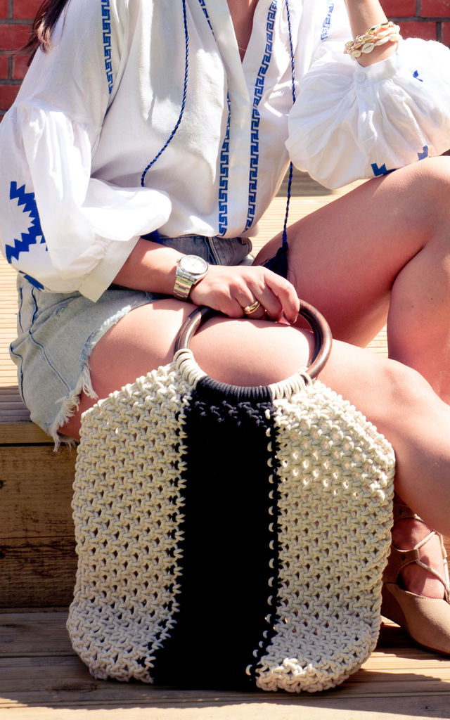 Sapna Macrame Shopper Bag with Wooden Handles in Cream and White by Seventy Six Fashion