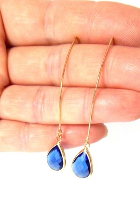 Blue Stone Drop Earrings by Olivia Divine Jewellery Product photo