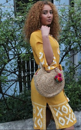 Sula Circle Jute Beach Basket Top Handle Bag in Natural with Pom Poms by Seventy Six Fashion