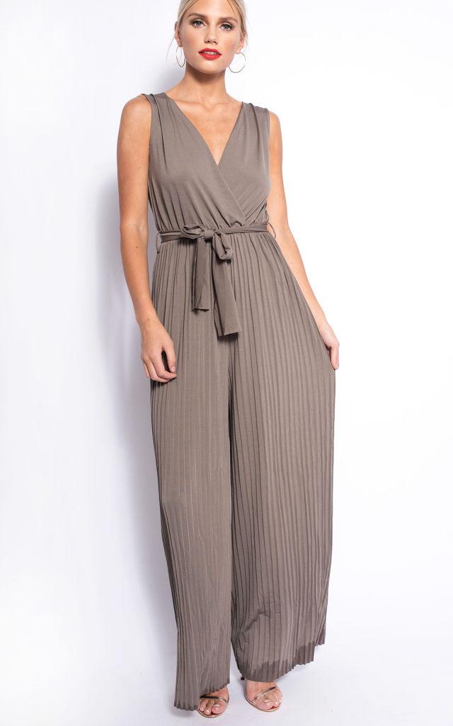 GREY PLEATED TIE-WAIST JUMPSUIT by dressesie