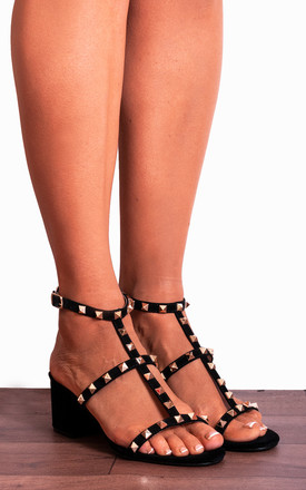 Black Gold Studs Studded Peep Toes Strappy Sandals High Heels by Shoe Closet