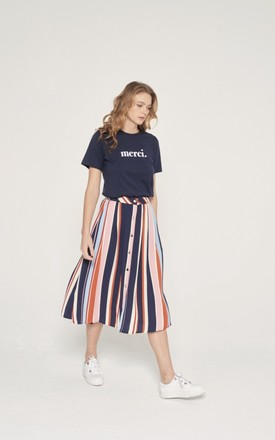 Merci Slogan T Shirt in Navy by Miss Red