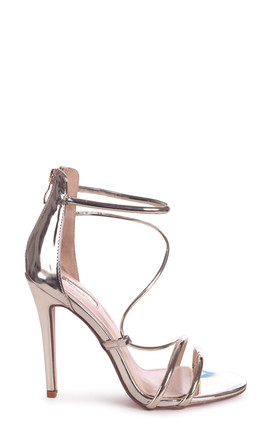 Corinna Gold Metallic Strappy Caged Stiletto Heel With Ankle Strap by Linzi