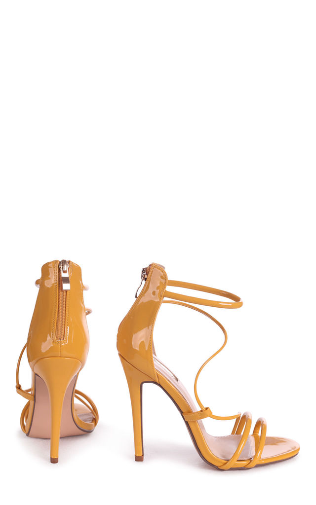 Corinna Yellow Patent Strappy Caged Stiletto Heel With Ankle Strap ( by Linzi