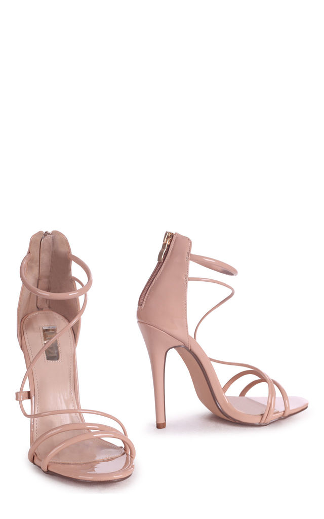 Corinna Mocha Patent Strappy Caged Stiletto Heel With Ankle Strap by Linzi