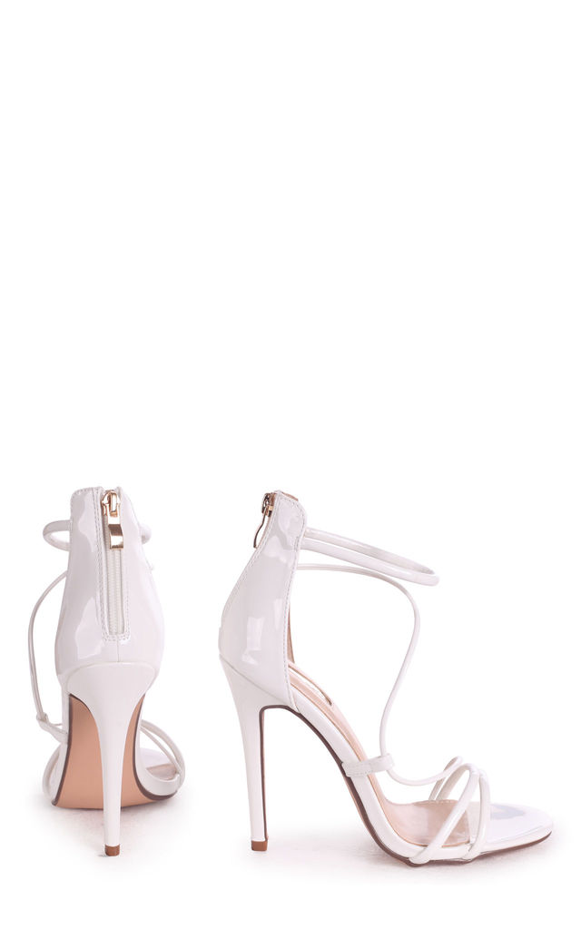 Corinna White Patent Strappy Caged Stiletto Heel With Ankle Strap by Linzi