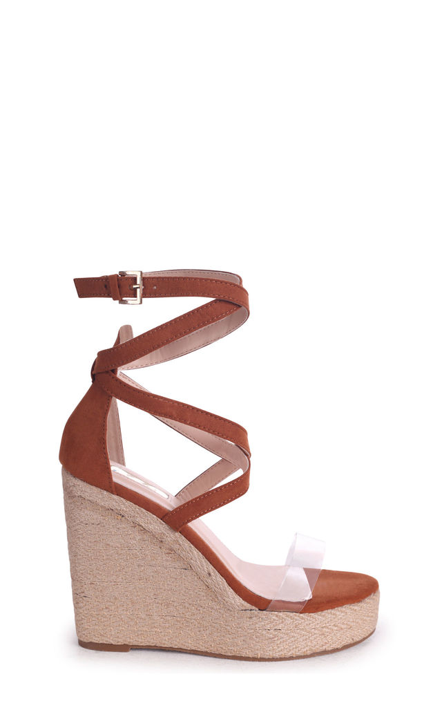 Danielle Tan Suede Rope Platform Wedge With Perspex Front Strap by Linzi