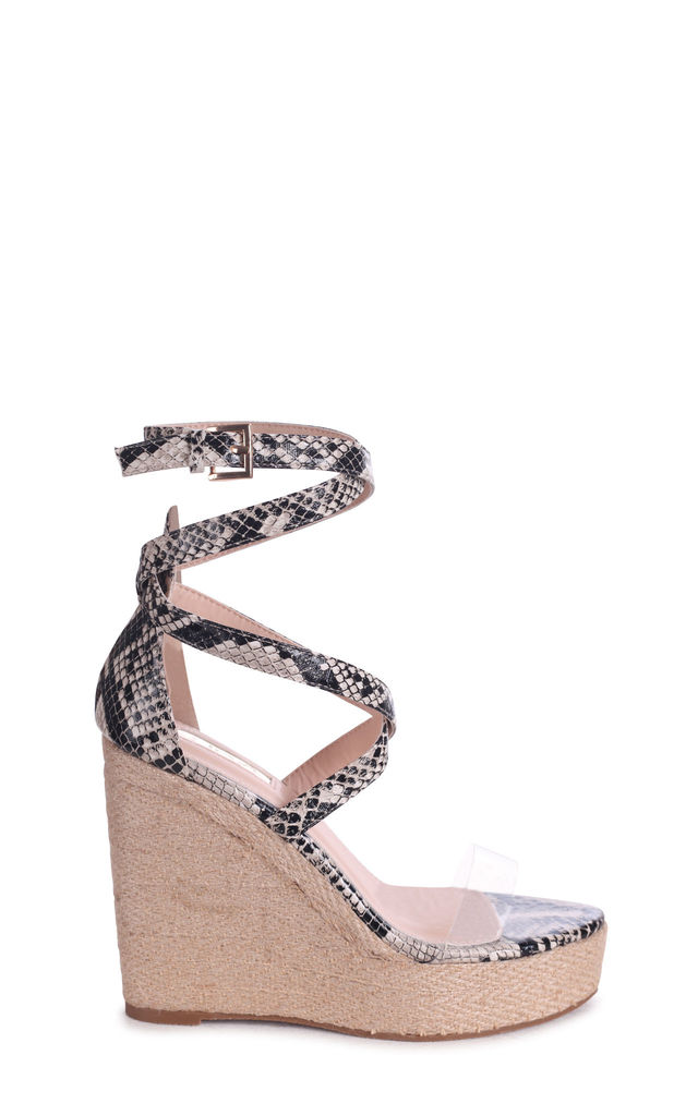 Danielle Natural Snake Rope Platform Wedge With Perspex Front Strap by Linzi