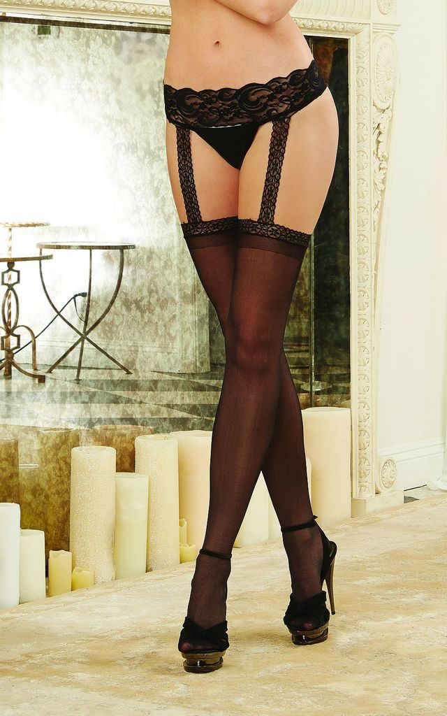 Sheer garter belt pantyhose in Black by DREAMGIRL