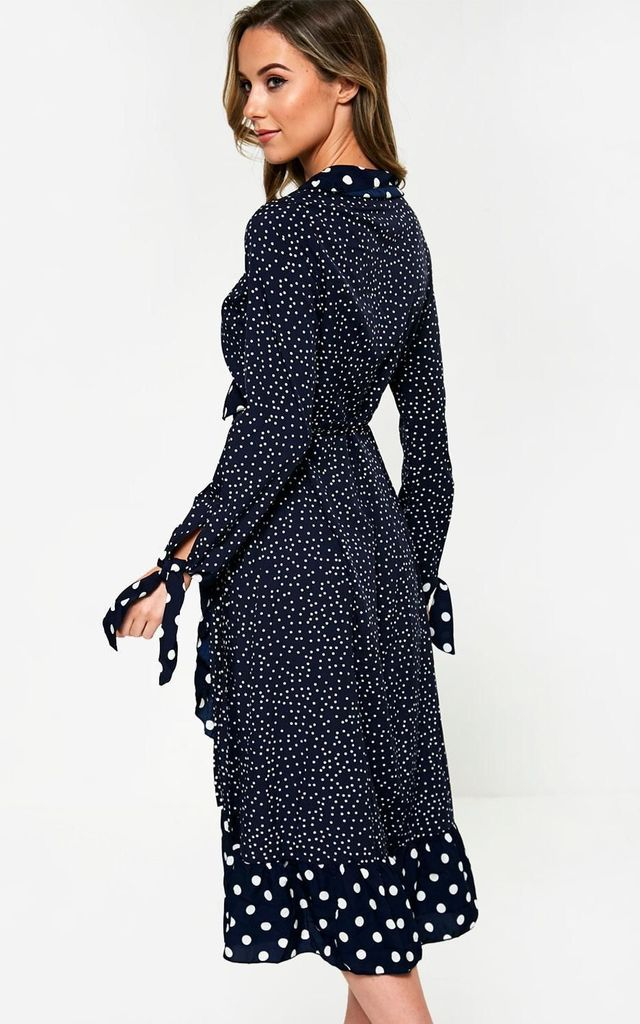 Polka Dot Wrap Dress in Navy by Marc Angelo